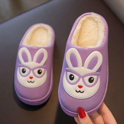依蓝圣雪PU儿童棉拖鞋男女童中小童拖鞋男孩女孩保暖防滑软底小孩拖鞋冬季