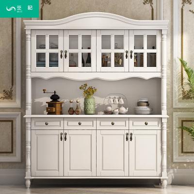 家具好店美式实木餐边柜白色酒柜储物柜碟碗柜欧式简约玄关餐柜厨房客厅放心购