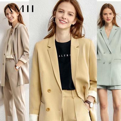 Amii休閑職業小西裝套裝女2020春季新款三件套洋氣減齡外套兩件套