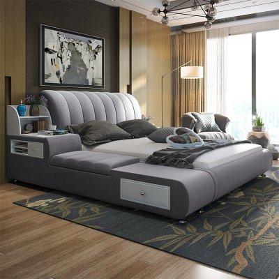 布藝床可拆洗榻榻米布藝軟床雙人床主臥婚床現代簡約儲物軟包床