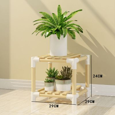 家時光 簡易組裝多層實木花架客廳陽臺室內多肉吊蘭花盆架子