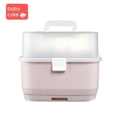 babycare嬰兒奶瓶收納箱瀝水架寶寶奶瓶晾干架收納盒帶蓋防塵收納架 檳粉 4506