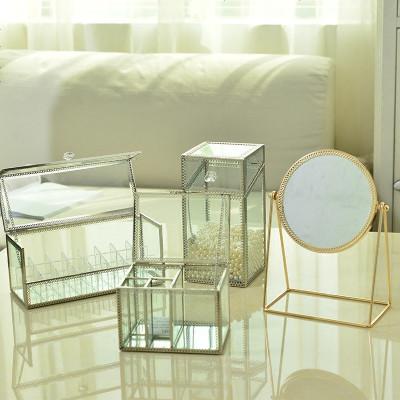 玻璃口紅架化妝品收納盒透明棉簽盒棉片盒化妝刷桶刷子筒