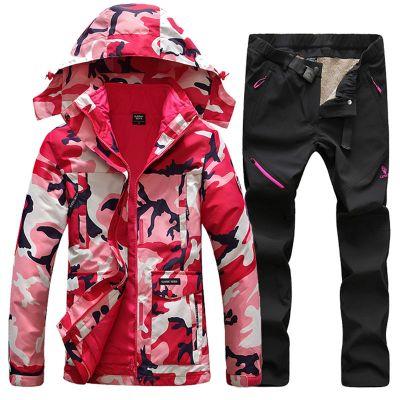滑雪服套装户外冲锋衣裤套装男女加厚保暖可拆卸两件套迷彩登山滑雪服外套女