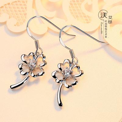 四葉草耳環女925純銀耳墜日韓氣質時尚銀耳飾簡約百搭飾品首飾禮物