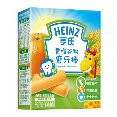 Heinz/亨氏香橙谷物磨牙棒64g 适用辅食添加初期以上至36个月 宝宝磨牙棒饼干婴儿辅食宝宝零食无添加儿童营养辅食