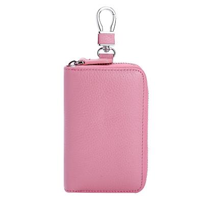 琦格爾鑰匙包女韓版鑰匙扣女士頭層牛皮腰掛零錢包簡約大容量汽車鎖匙包