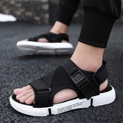 新款夏季凉鞋男士防滑沙滩鞋个性外穿两用拖鞋休闲透气凉拖一字拖 926 lc黑白(可卸后带) 41