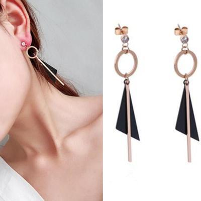黑色三角形长款几何耳钉韩国个性百搭玫瑰金耳环女钛钢气质耳坠