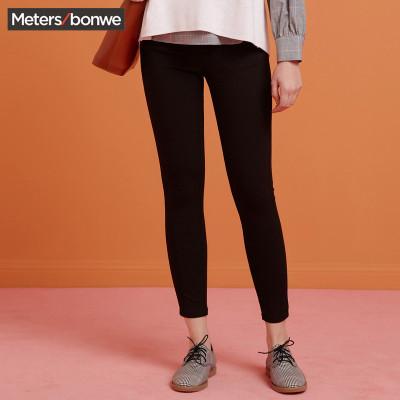 【79元任選3件】美特斯·邦威長褲休閑褲女秋裝新款甜美學生修身顯瘦黑色鉛筆褲