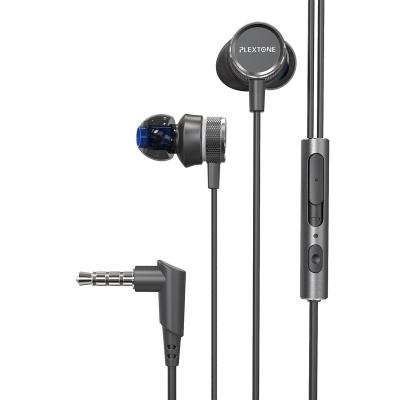 浦记(Plextone)G15游戏耳机入耳式手机K歌耳麦L插头 带线控 接听电话 带一分二音频线 黑色