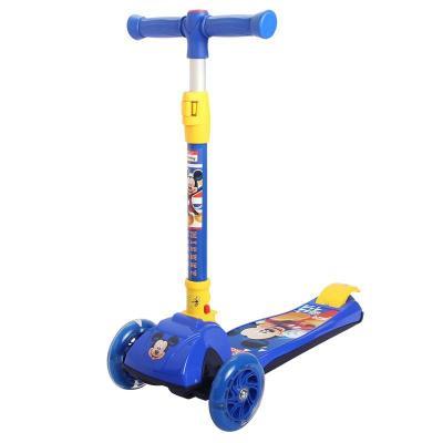 迪士尼(DISNEY)漫威兒童滑板車三四PU輪閃光搖擺車可折疊升降腳踏車米奇公主蘇菲亞蜘蛛俠承重50KG