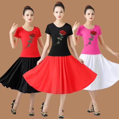 中老年廣場舞服裝夏季新款短袖上衣半身裙套裝練功服演出舞蹈服女
