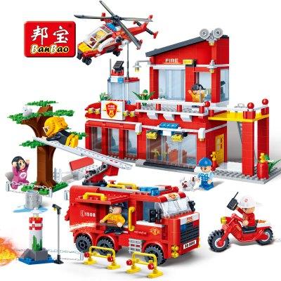 【小颗粒】邦宝儿童益智拼插小颗粒积木男孩女孩玩具消防局7110