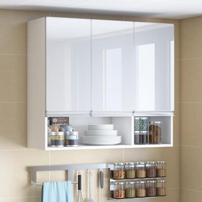 廚房吊柜客餐廳墻上儲物柜鋼化閃電客玻璃櫥柜實木衛生間收納柜墻壁柜