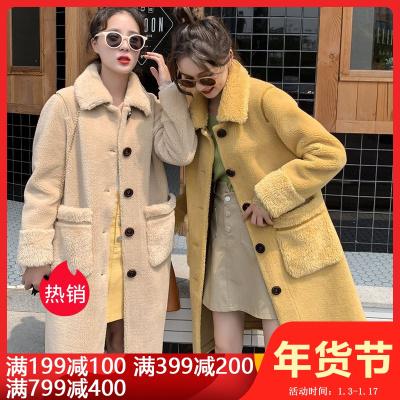 雅馨季羊剪绒大衣女2019冬季新款颗粒羊羔毛中长款皮毛一体皮草外套HZ98065