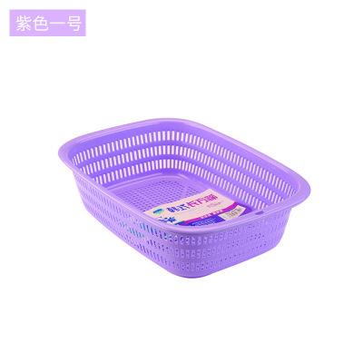 塑料瀝水盆方形鏤空洗菜籃蔬菜瀝水篩廚房水果收納籃瀝水籃洗菜盆 1號紫色28*20.5*7.5cm