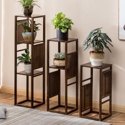 楠竹花架客厅置物架绿萝架阳台简约现代室内吊兰花盆架新中式花架