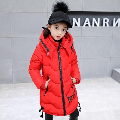女童韓版字母保暖外套時尚休閑連帽加厚棉服兒童中長款御寒防風棉衣個性街頭潮款襖子