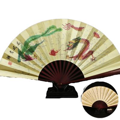 中國風男絹扇古風扇子折扇隨身日用扇便攜復古折疊扇-龍鳳呈祥