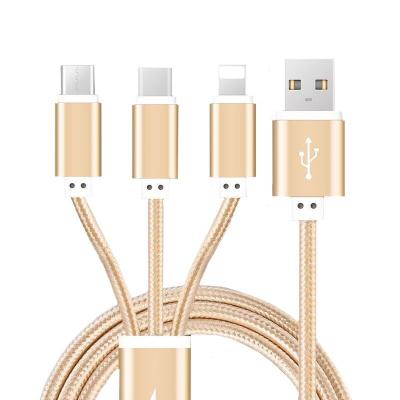 淘尔杰TAOERJ电源线数据线一拖三多功能多头安卓苹果加长手机充电线 1米长 金色