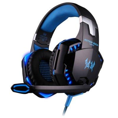 因卓G2000游戲耳機頭戴式電腦吃雞耳麥 發光帶線控 雙插頭 編織線 2米長 三色可選