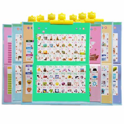 【全套17張充電版】兒童有聲掛圖早教發聲掛圖0-3歲-6歲充電版幼兒寶寶啟蒙語音嬰兒拼音字母表認字識字墻貼點讀學習機玩具