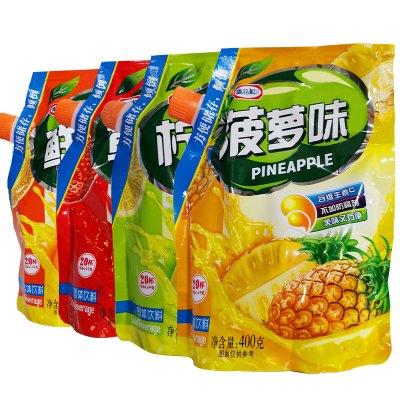 唐品軒4口味速溶固體飲料400g*4袋 檸檬菠蘿鮮橙草莓味 夏季果汁粉 水果味速溶飲料 固體果珍沖飲粉 果汁沖調原料