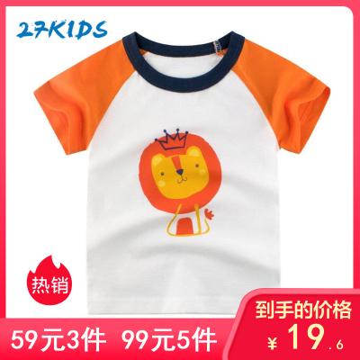 27Kids 兒童T恤韓版童裝春夏季兒童短袖T恤時尚休閑男女通用寶寶衣服