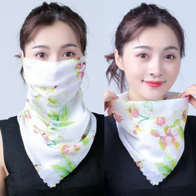 防曬絲巾圍脖大女護頸透氣面罩全遮臉防紫外線雪紡薄 面紗