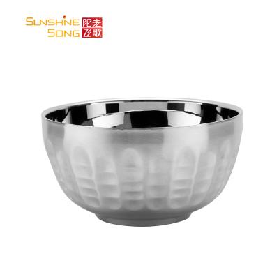 阳光飞歌 304不锈钢碗 金手指餐具系列双层隔热防摔防烫韩式儿童碗12cm 2只装