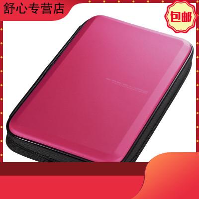 日本SANWA碟片包藍光CD盒車載光盤包影碟收納24/36/48/104/160 藍光56片裝玫紅色