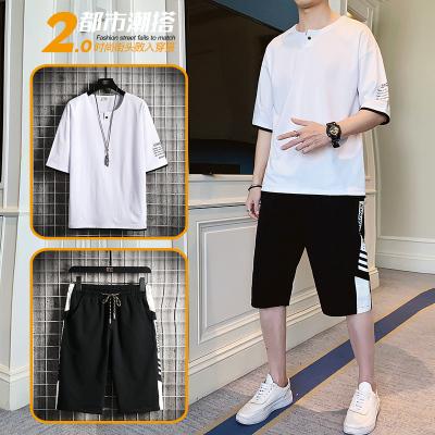 男士短袖套裝夏季新款韓版潮流ins兩件套運動休閑帥氣一套男裝
