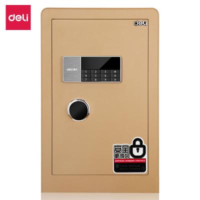 得力保險箱4079A家用辦公防盜保險箱電子密碼保險柜鑰匙+密碼入墻隱形保險金色60cm