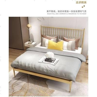 北欧双人床现代简约铁架床1.8米1.5米主卧金色铁艺双人床大床