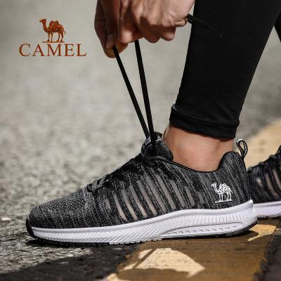 CAMEL駱駝戶外運動鞋 2019新款情侶款男女飛織網面輕便透氣運動跑步鞋