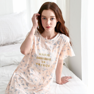 紅豆(HODO)女士睡裙純棉短袖睡裙女式圓領碎花連衣短裙家居服睡裙