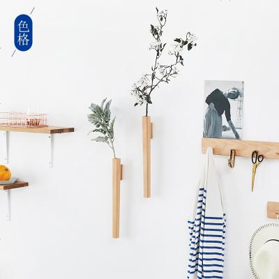 北歐簡約墻上創意花架實木客廳置物架室內墻壁裝飾木制壁掛花插器