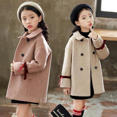 女童毛呢外套加厚中长款2018冬季中大童夹棉呢子大衣女学生上衣韩 莎丞