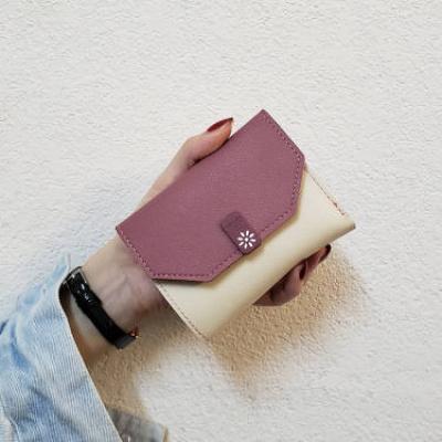尚谷伊美ins新款韓版方小錢包女短款折疊簡約時尚女士卡包迷你零錢包三折零錢包