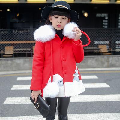 女孩加厚外套秋冬季柔軟大毛領毛呢大衣可愛毛球掛繩外衣兒童女寶寶街頭氣質百搭潮衣