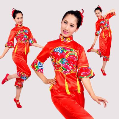 東北大花布中老年秧歌服裝元旦舞臺裝民族服裝扇子腰鼓舞蹈演出服