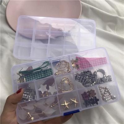 日系簡約首飾收納盒15格透明塑料收納盒多格子耳釘首飾盒整理盒