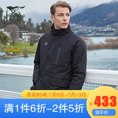 七匹狼棉服男士中長款工裝機能服【防潑水】2019冬季運動棉衣外套