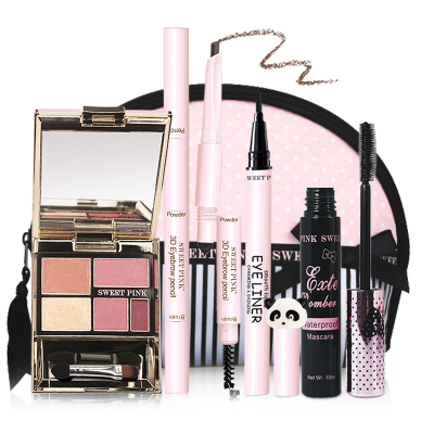 粉色安琪SWEET PINK 时尚眼妆5件套(B组眼影活力粉+眉笔焦糖棕+化妆包+睫毛膏+眼线液)