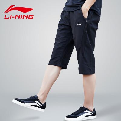 李宁(LI-NING)运动中长裤男士七分裤短裤夏季单层速干透气七分运动裤休闲裤裤腰系带