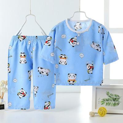 口袋虎2020年夏季新款男童女童綿綢長袖夏天薄款空調睡衣套裝