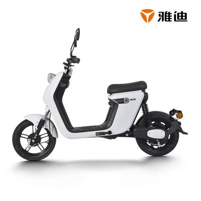 雅迪電動車新款歐致48V24ah鋰電電瓶車踏板代步電動自自行車 男女通用 雪珠白