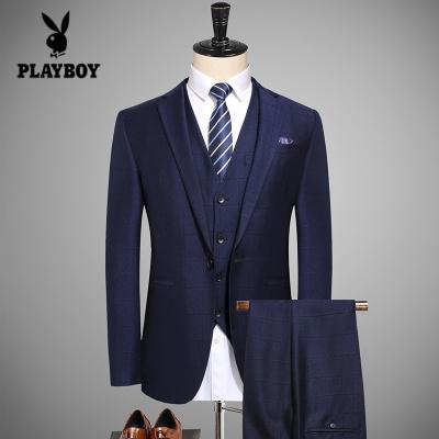 花花公子 ( PLAYBOY ICON )西服套装男士商务宴会三件套修身新郎结婚礼服英伦暗格西装男