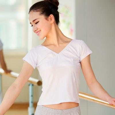 前交叉 舞蹈上衣練功服V領女成人練舞服棉短袖白色舞蹈服形體舞衣